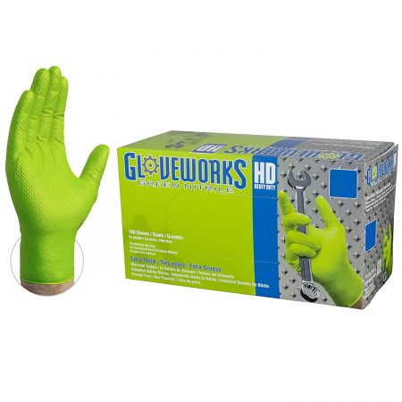 GLOVEWORKS HD Industrial Green Nitrile Gloves With Diamond Texture Grip