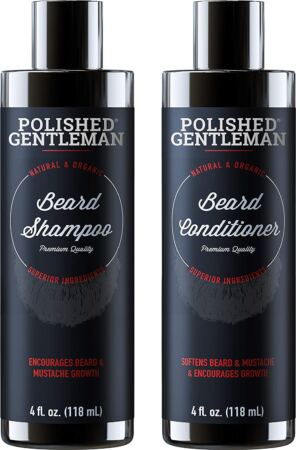 Beard Growth Shampoo And Conditioner Set Best Natural Face Wash With Biotin & Tea Tree
