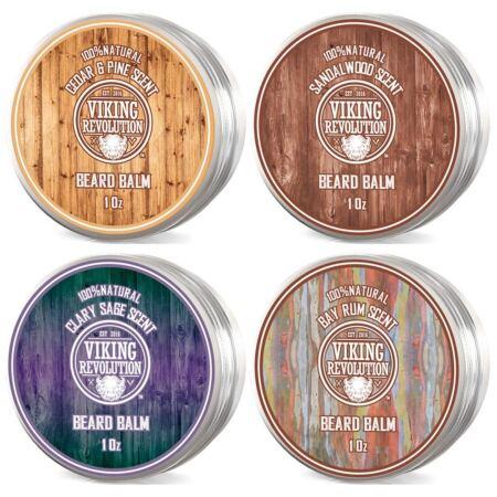 4 Beard Balm Variety Pack (1oz Each) Sandalwood, Pine & Cedar, Bay Rum, Clary Sage Styles, Strengthens