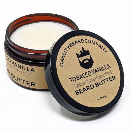 OakCityBeardCo. Tobacco Vanilla 4 Ounce Beard Butter Beard Conditioner Tobacco Vanilla Guaiac Wood