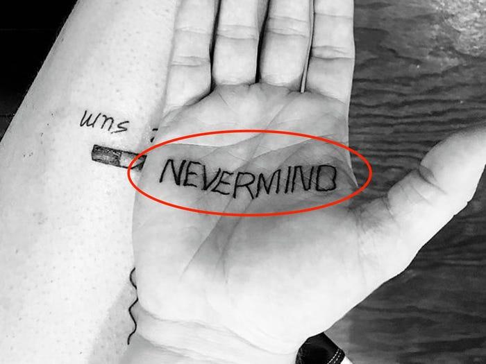 5 Nevermind Tattoo On Hand