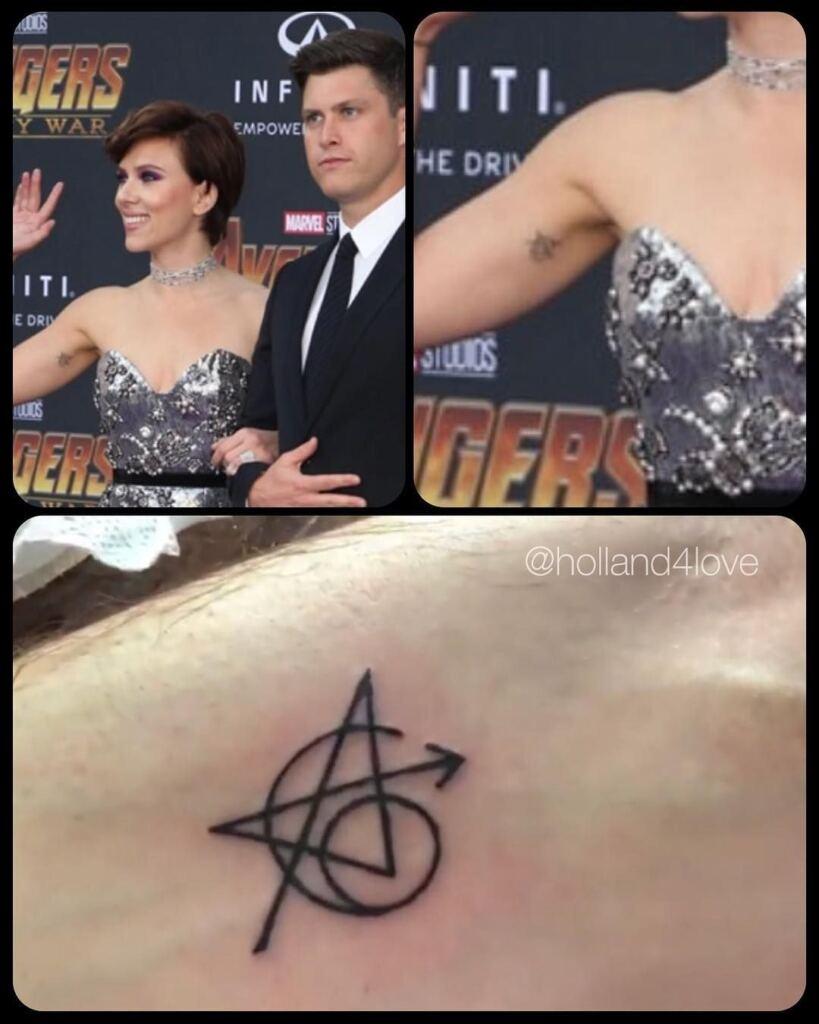 Scarlett Johansson Avengers Logo Tattoo