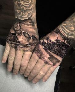 Cast Away hands tattoos