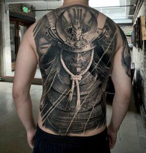 Samurai Full Back Tattoo