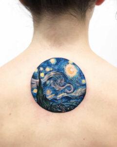 Starry Night back tattoo